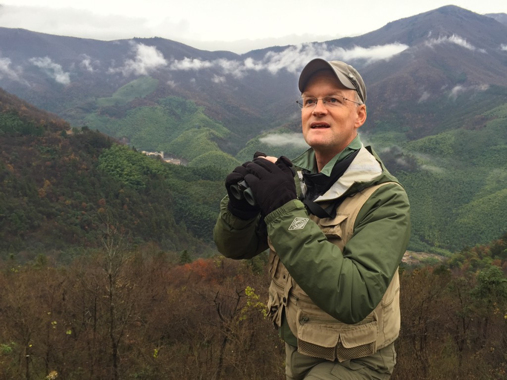 The author at the Koklass clearing at West Tianmu Nature Reserve, elev. 1020 m, Sat. 21 Nov. 2015.