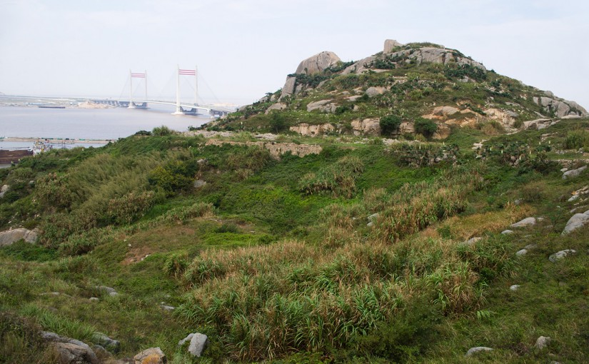 Habitat and Donghai Bridge behind Temple Mount, Lesser Yangshan Island.