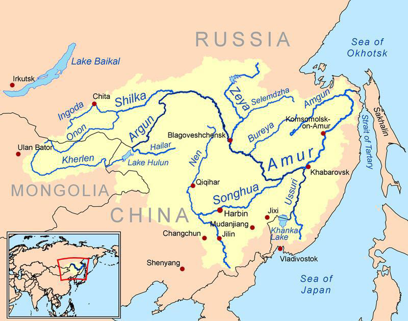 In 2015, our explorations in the northeast took place within the Amur River Basin. Map courtesy Wikipedia.