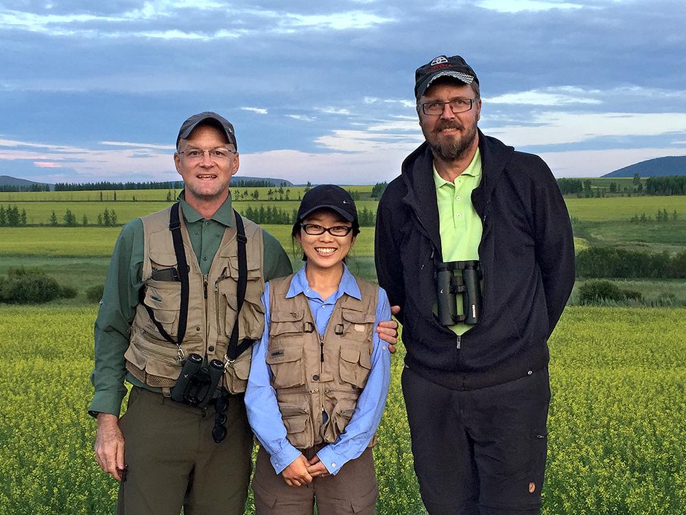 L-R: Craig Brelsford, Elaine Du, and Jan-Erik Nilsén, on the S301 between Genhe and Labudalin, Hulunbeier, Inner Mongolia, China, 19 July 2015.