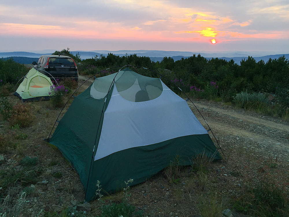 Dawn at camp on Pine Ridge, Yikesama National Forest, Hulunbeier. Elev. 1409 m. 04:07 a.m., 17 July 2015.