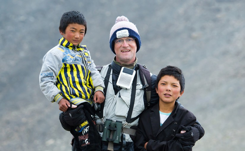 Craig Brelsford with two Tibetan brothers, Ela Shan, Qinghai, China. Elevation 4700 m. 27 July 2013.