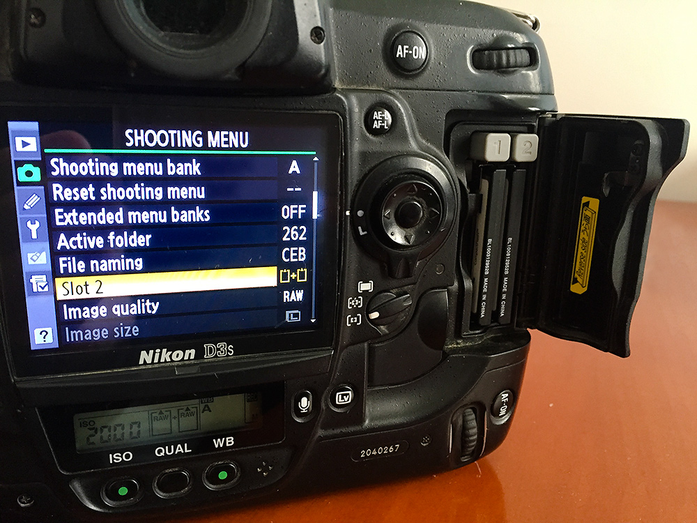Nikon D3S optimized for backup. Note that in 'Shooting Menu' I have chosen backup mode for Slot 2. Memory cards have been loaded into Slot 1 and 2.