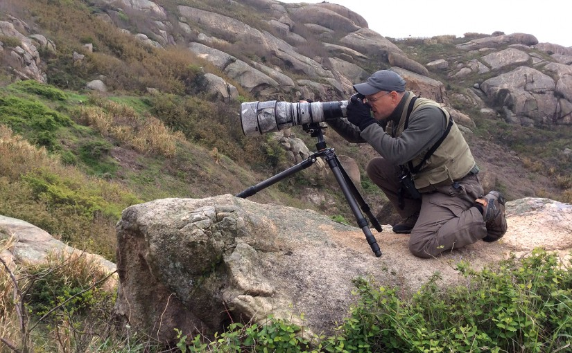 Craig Brelsford photographing Brown-flanked Bush Warbler, Lesser Yangshan Island, Zhejiang, China, 9 April 2015. Photo by Elaine Du.