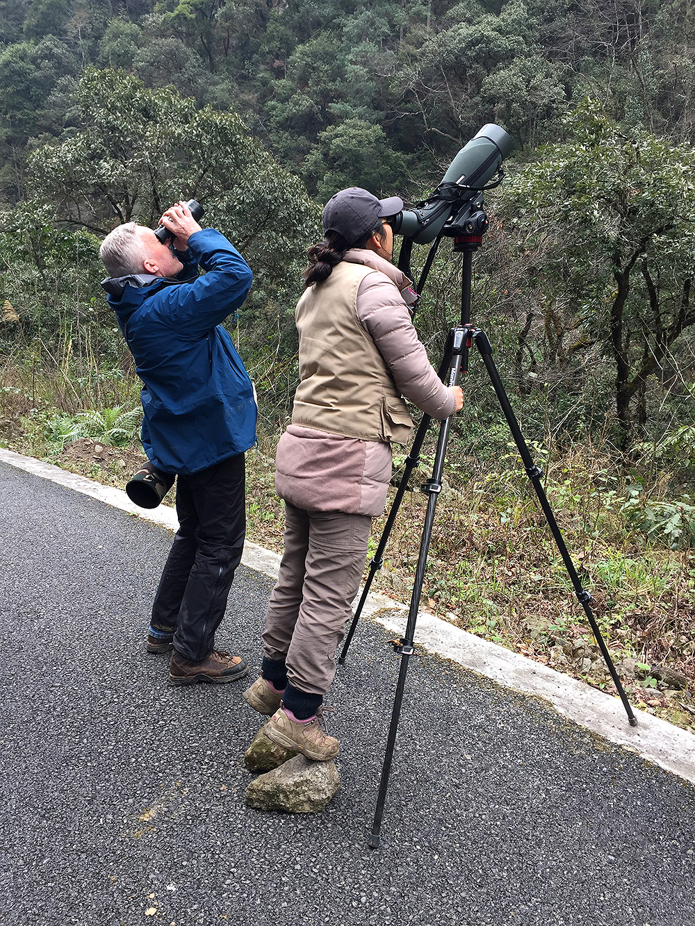 Brian Ivon Jones (L) and Elaine Du viewing Grandala for the first time, Dulong Gorge, 19 Feb. 2016.