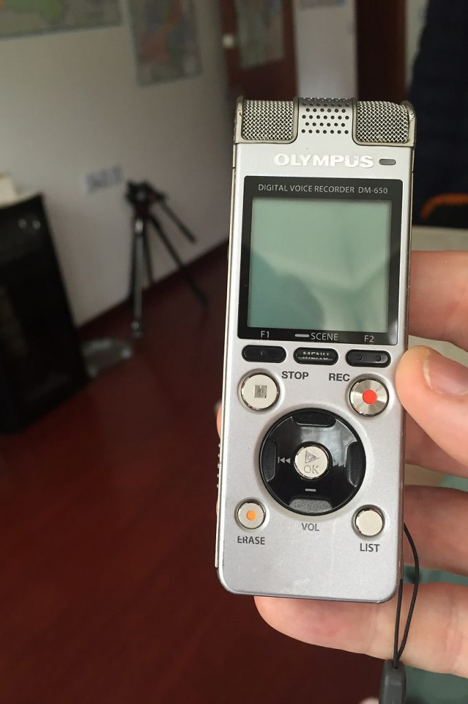 My trusty Olympus DM-650 sound recorder. All the recordings in this report were made with it.