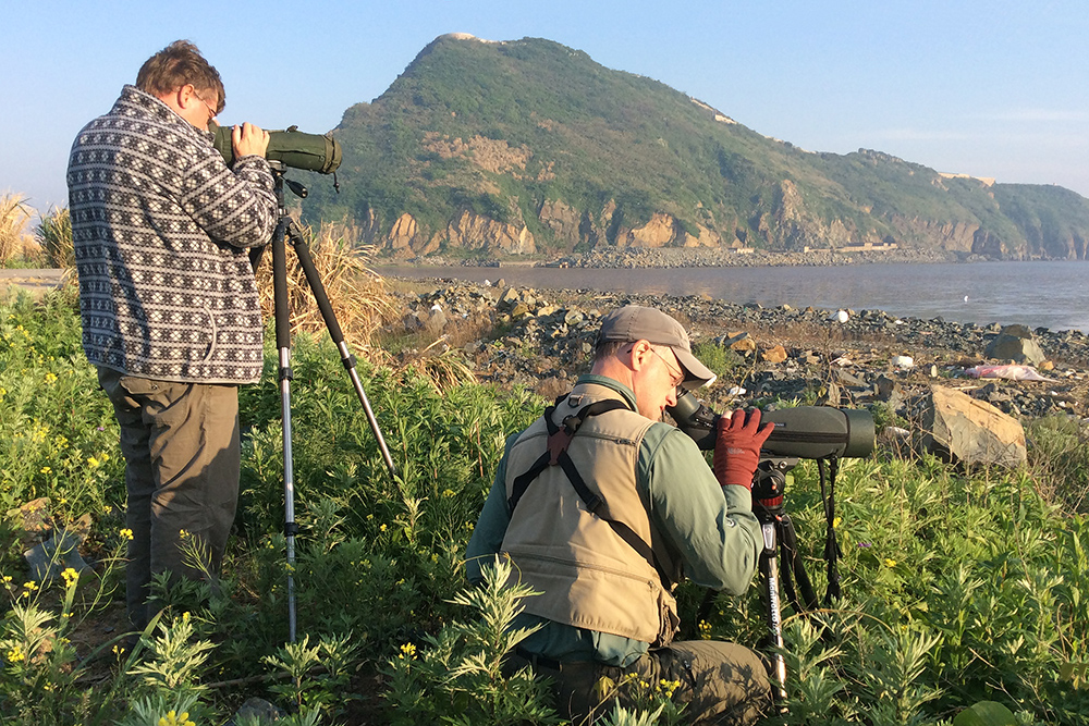 Michael Grunwell (L) and Craig Brelsford examining shorebirds on Accidental Mudflat, Lesser Yangshan Island, Zhejiang, China, 30 April 2016. Photo by Elaine Du.
