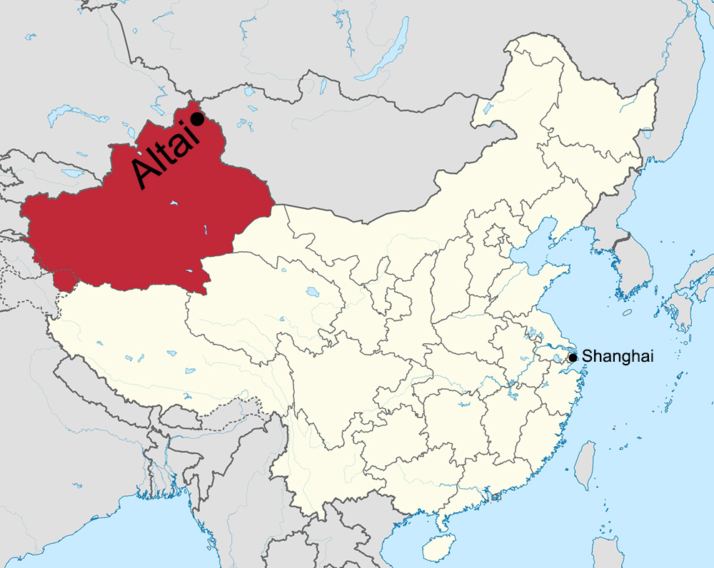 Map showing position of Altai City in territory administered by the People's Republic of China. Altai City lies just north of the Eurasian Continental Pole of Inaccessibility, i.e., the point in Eurasia farthest from any coastline. Red area signifies Xinjiang. The largest provincial-level entity in the PRC, 'New Frontier' is larger than Germany, France, and Spain combined. Map courtesy Wikipedia.