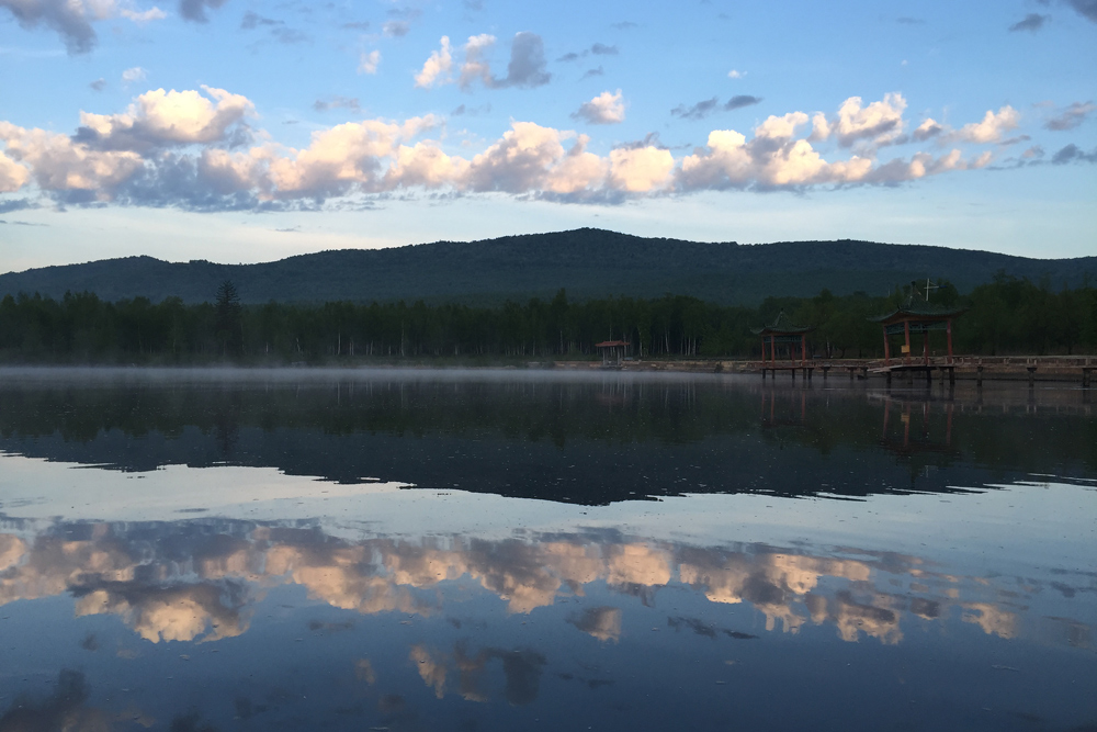 Early morning at the lake near the entrance to Xidaquan National Forest, 2 June 2016.