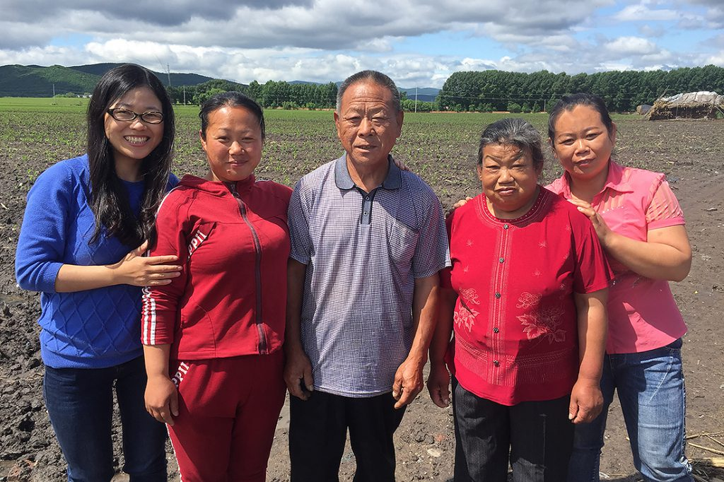 Elaine Du (L) with parents and elder sisters. Dawucun, 12 June 2016.