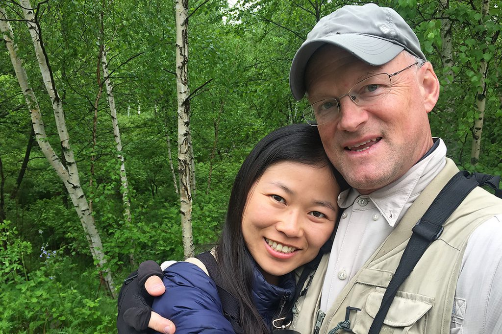 The husband-and-wife birding team of Elaine Du (L) and Craig Brelsford, Xidaquan National Forest, Boli, Heilongjiang, 10 June 2016.