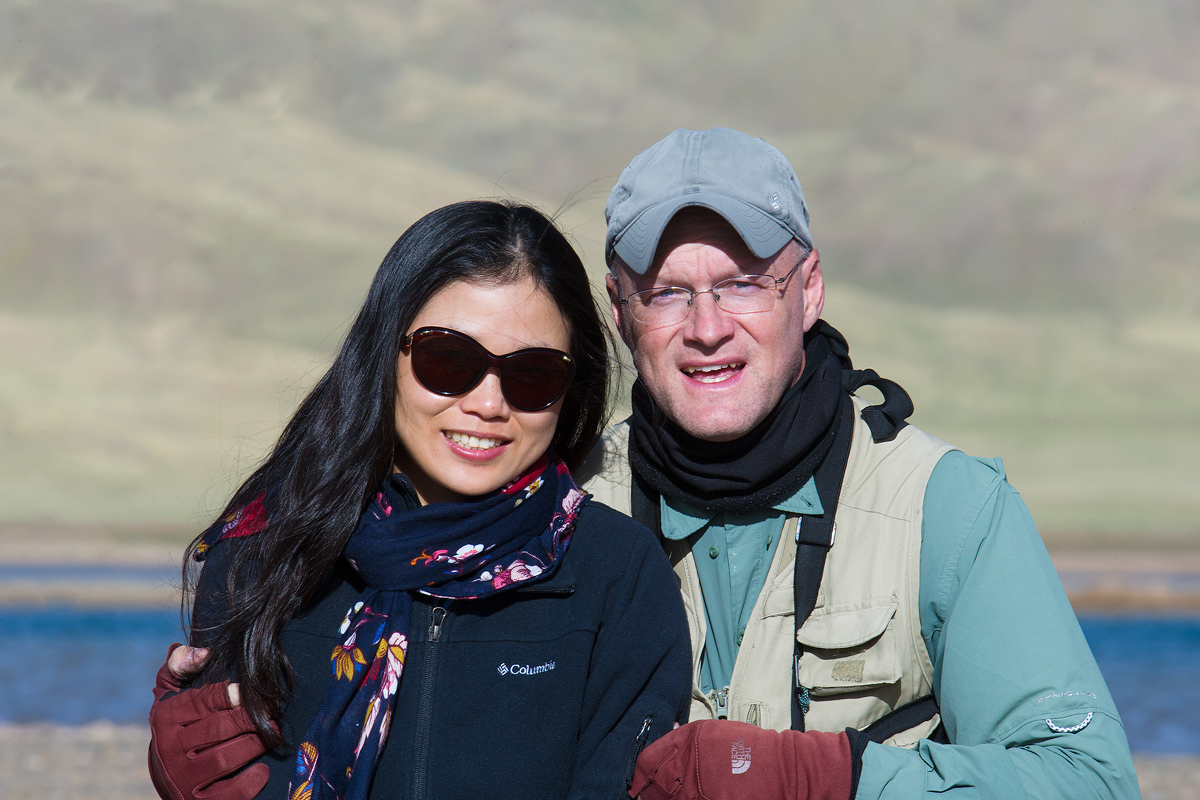 Elaine Du (L) and Craig Brelsford, Eling Lake, Qinghai, 3 July 2016.