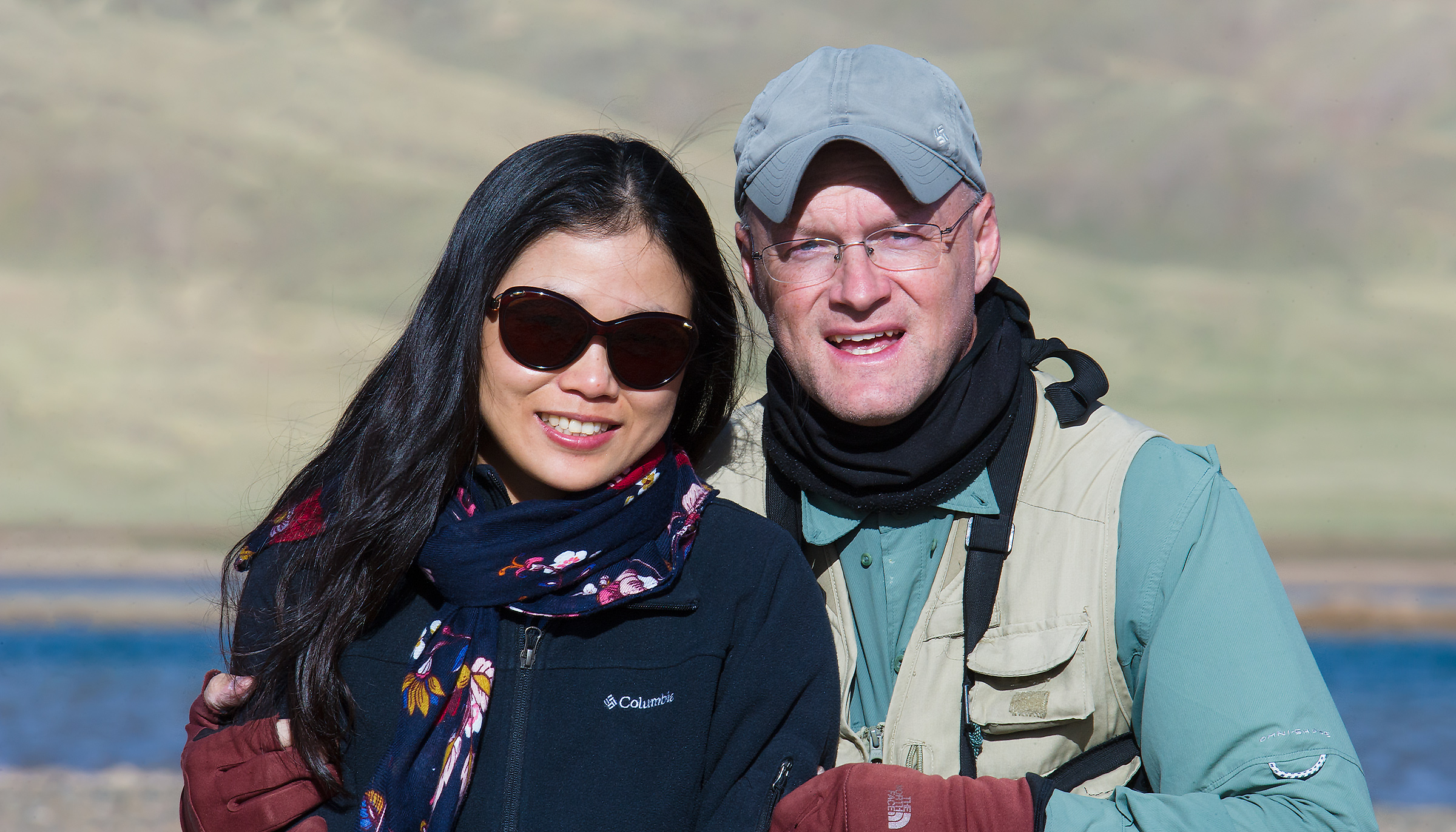 'We Are Family!' sang Sister Sledge back in '79. Here's the Chinese-American adventure team, Elaine Du (L) and yours truly--partners, spouses, family. Eling Lake, where the Yellow River and Chinese culture are born. 3 July 2016. Self-portrait taken with my Nikon D3S and 600 mm F/4 lens.