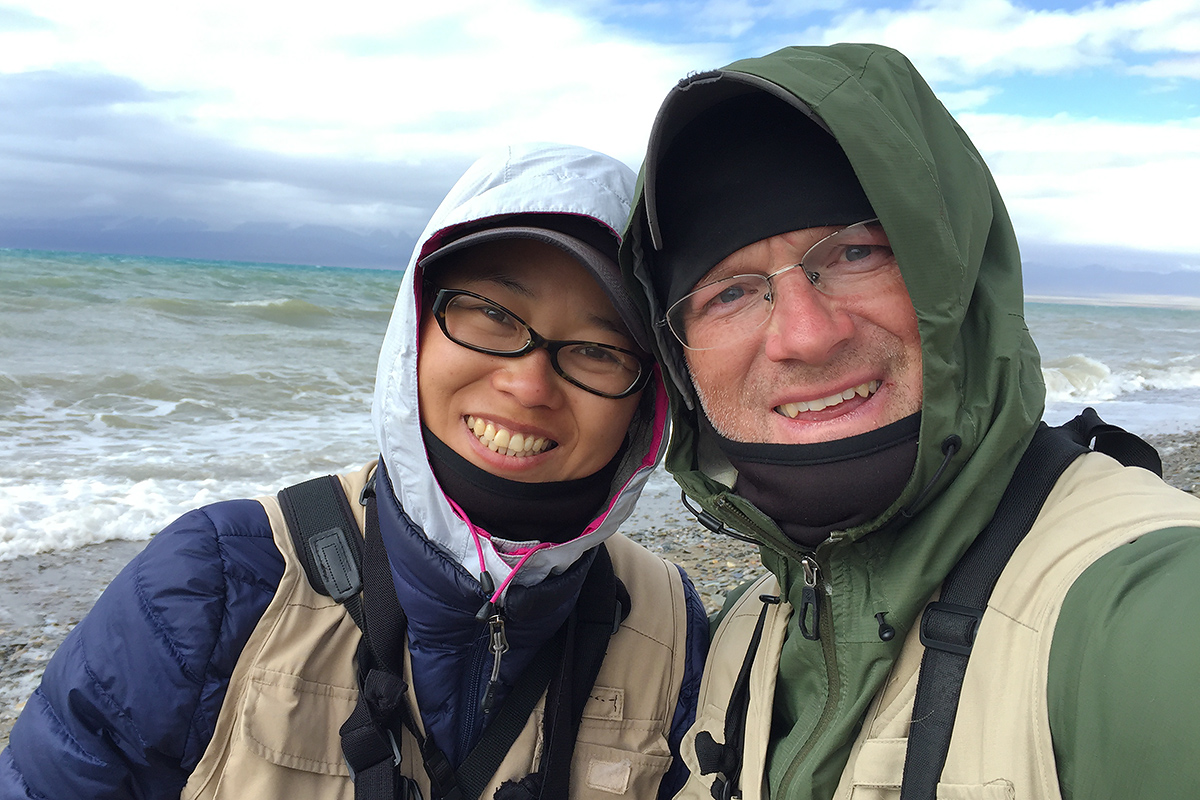 Elaine and Craig took this selfie while birding the shore of Hala Lake on 10 Aug. 2016.