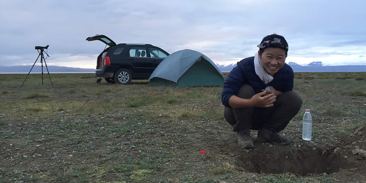 Elaine Du washes up at our latrine, 11 Aug. 2016. Elaine and I keep a clean camp and stay civilized in the wild. A key component of staying civilized is a simple latrine, into which all our wastewater goes. The way Elaine and I see it, litter, unburied feces, and a sloppy camp are the marks of a barbarian.