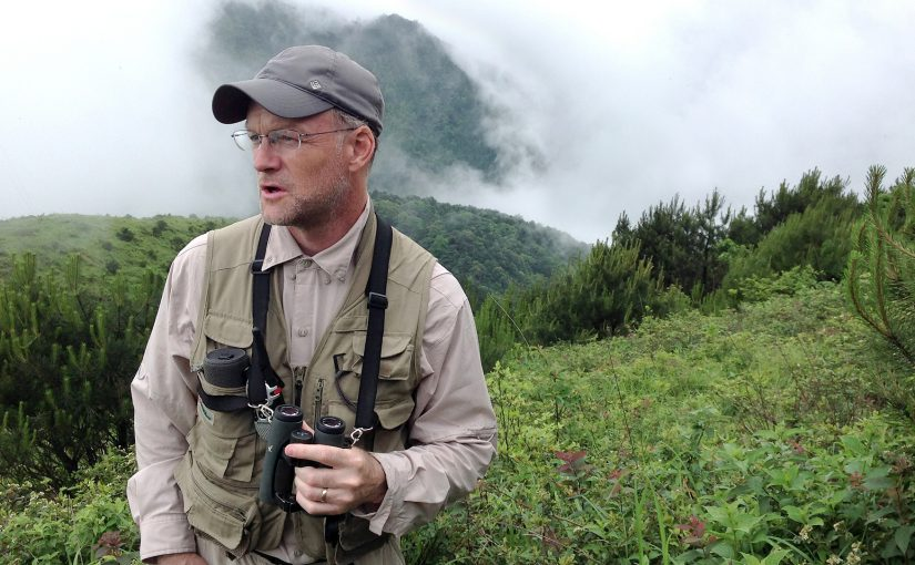 Craig Brelsford in pristine alpine scrub at Emeifeng, Fujian. Elev. 1600 m. 31 May 2015.