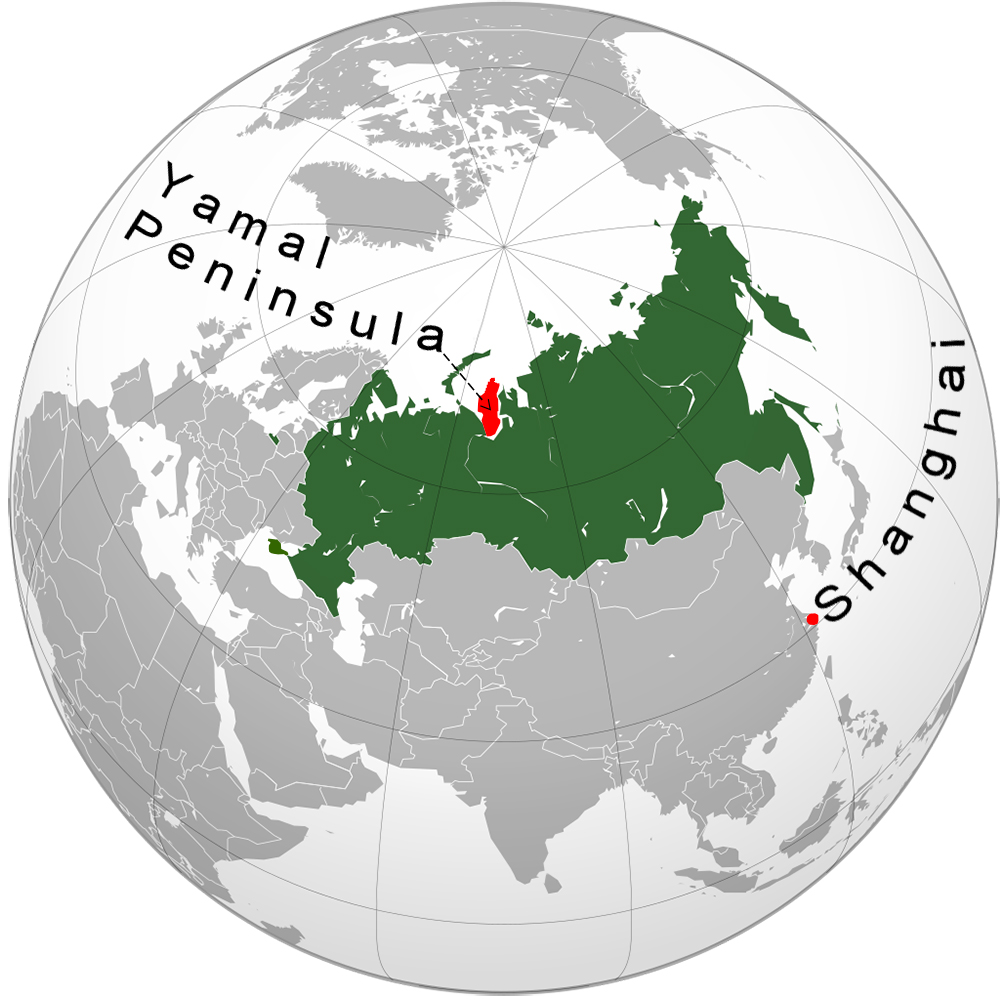 The Yamal Peninsula (red) is in north-central Russia (green), 5,300 km from Shanghai. Future Trillionaire-Wikimedia/Craig Brelsford.