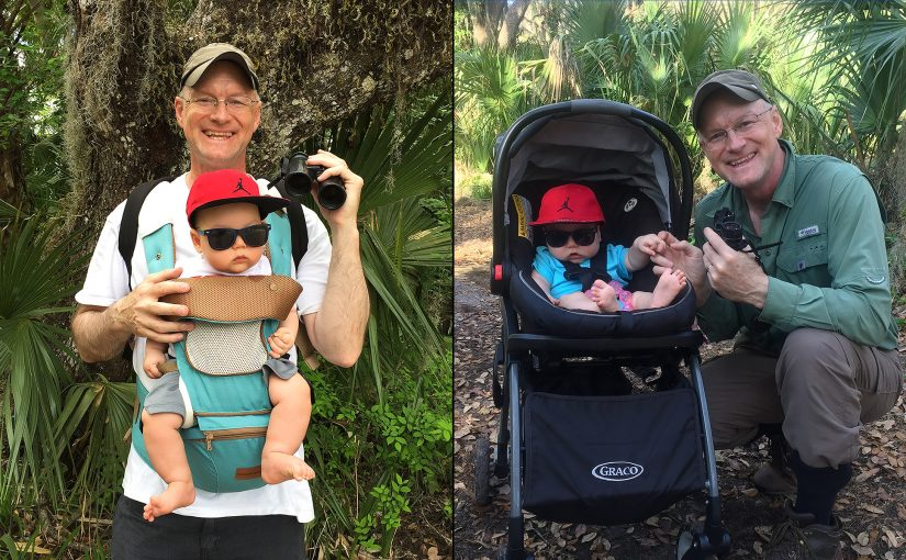 "Craig Brelsford birding with his son, Craig ""Tiny"" Brelsford. L: Lake Woodruff National Wildlife Refuge, Volusia County, Florida, 25 Feb. 2018. R: Gemini Springs Park, Debary, Florida, 22 Feb. 2018. (Elaine Du)"