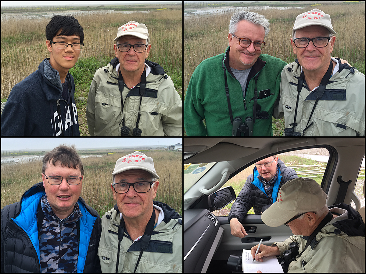 Everyone wanted a turn with the distinguished man. Top: MacKinnon with Larry Chen (L) and Russell Boyman. Bottom: Michael Grunwell poses and gets an autograph for his copy of the Field Guide. (Craig Brelsford)