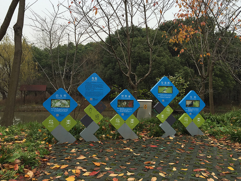 Signs introduce Century Park's Bird Island, seen here in the background. Off-limits to the public, this miniature nature reserve is a sanctuary for birds, among them some of the few Great Spotted Woodpecker living in urban Shanghai.