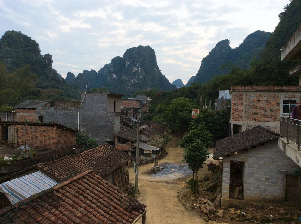 Longheng and karst towers from balcony at Mr. Lu's lodge. Photo by Elaine Du.