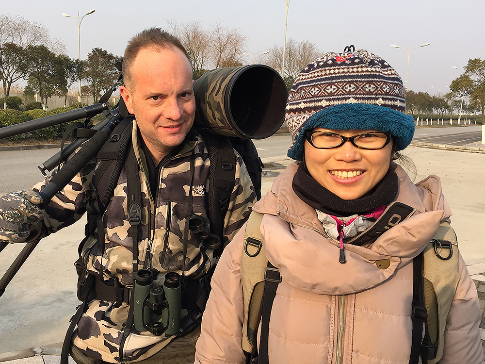 Kai Pflug (L) and Elaine Du finishing up a successful birding day at Nanhui, 5 Feb. 2016. With Kai capably handling the photographic side, my skills in that field were rendered irrelevant; I put on my birdwatcher's hat and was content. My wife, as is her wont, kept records and did much scanning with the spotting scope.