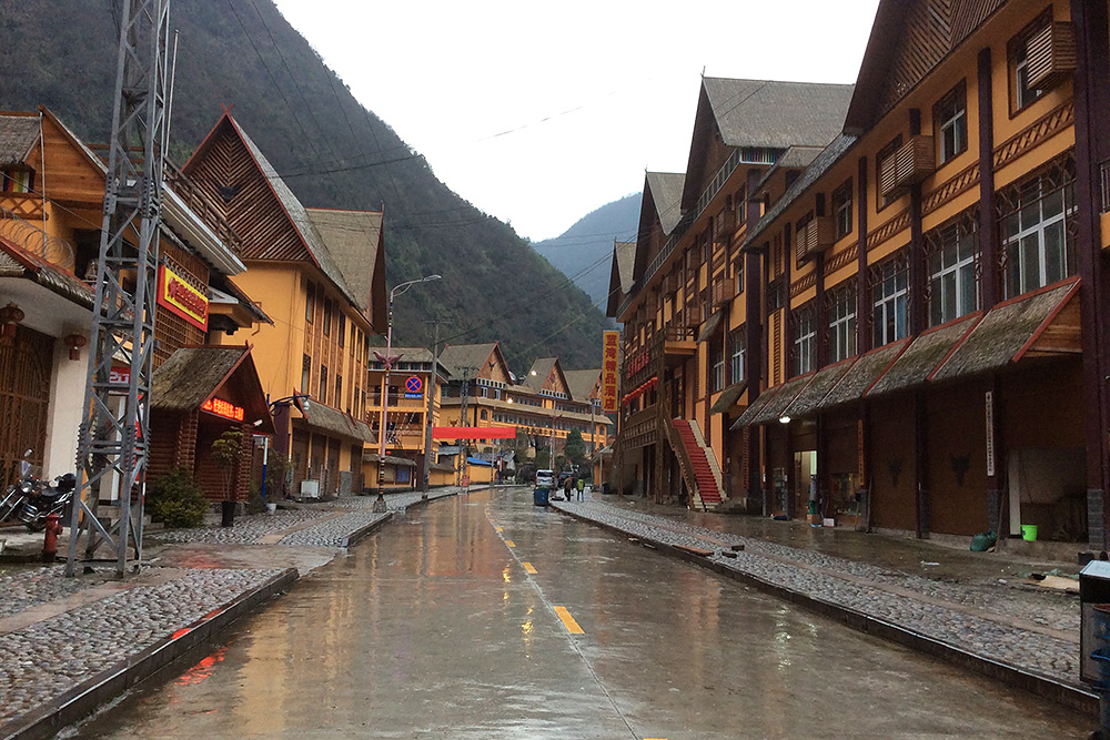 Main street in Kongdang, our base of operations in Dulong Gorge. Photo by Elaine Du.
