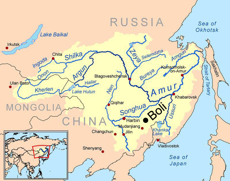 Boli County lies within the Amur Basin of Northeast China. It is part of Qitaihe Prefecture in eastern Heilongjiang, not far from the Sino-Russian border. Map courtesy Wikipedia.