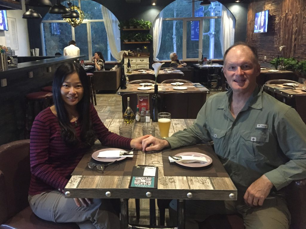 Elaine and I relaxing at an Italian restaurant in Xining on Monday night. After non-stop, high-altitude birding for a month, we were ready to kick back.