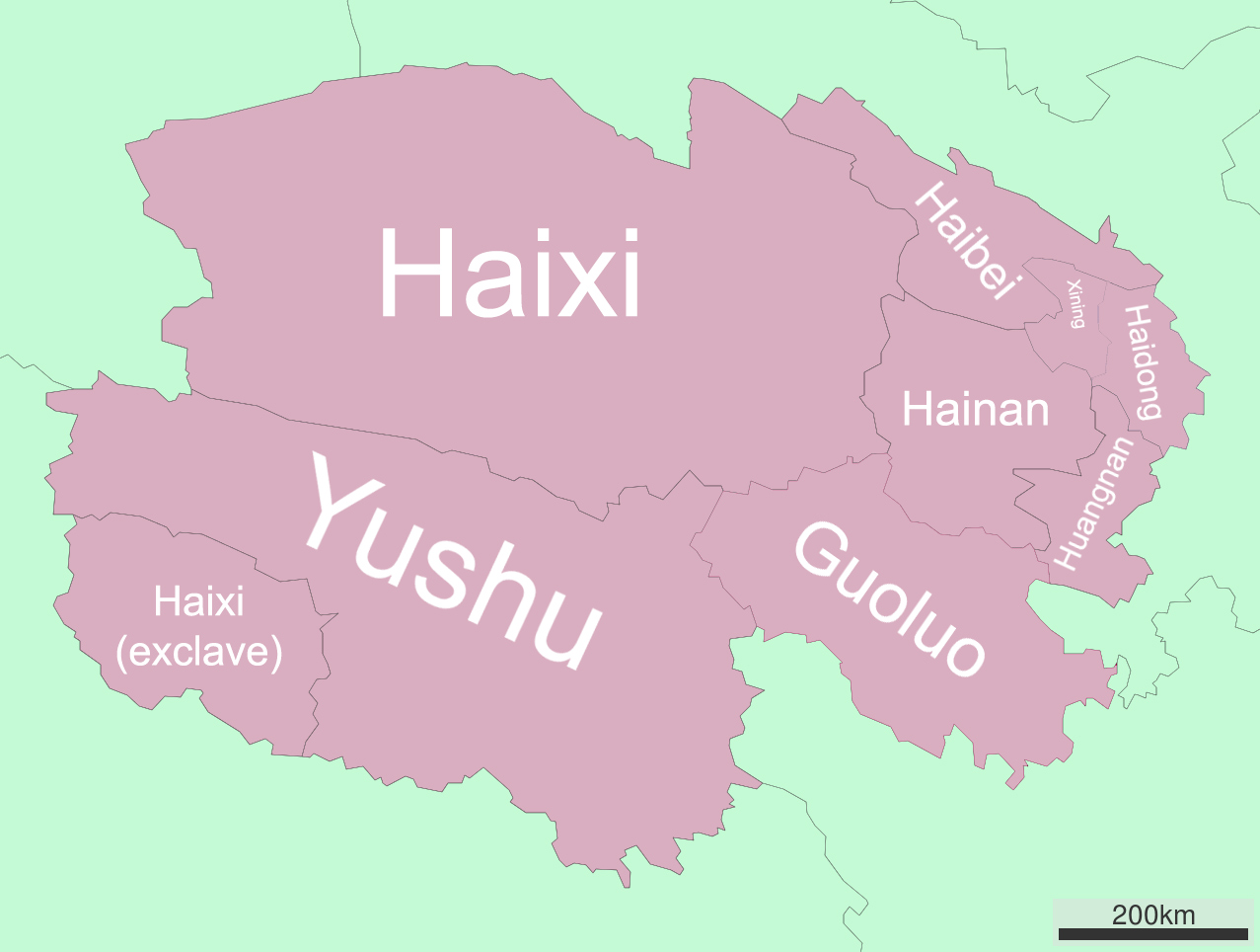 Map of Qinghai showing the eight prefectural-level divisions. With just 5.6 million inhabitants in an area larger than Texas, Qinghai is a vast, sparsely populated province. Map courtesy Wikipedia.