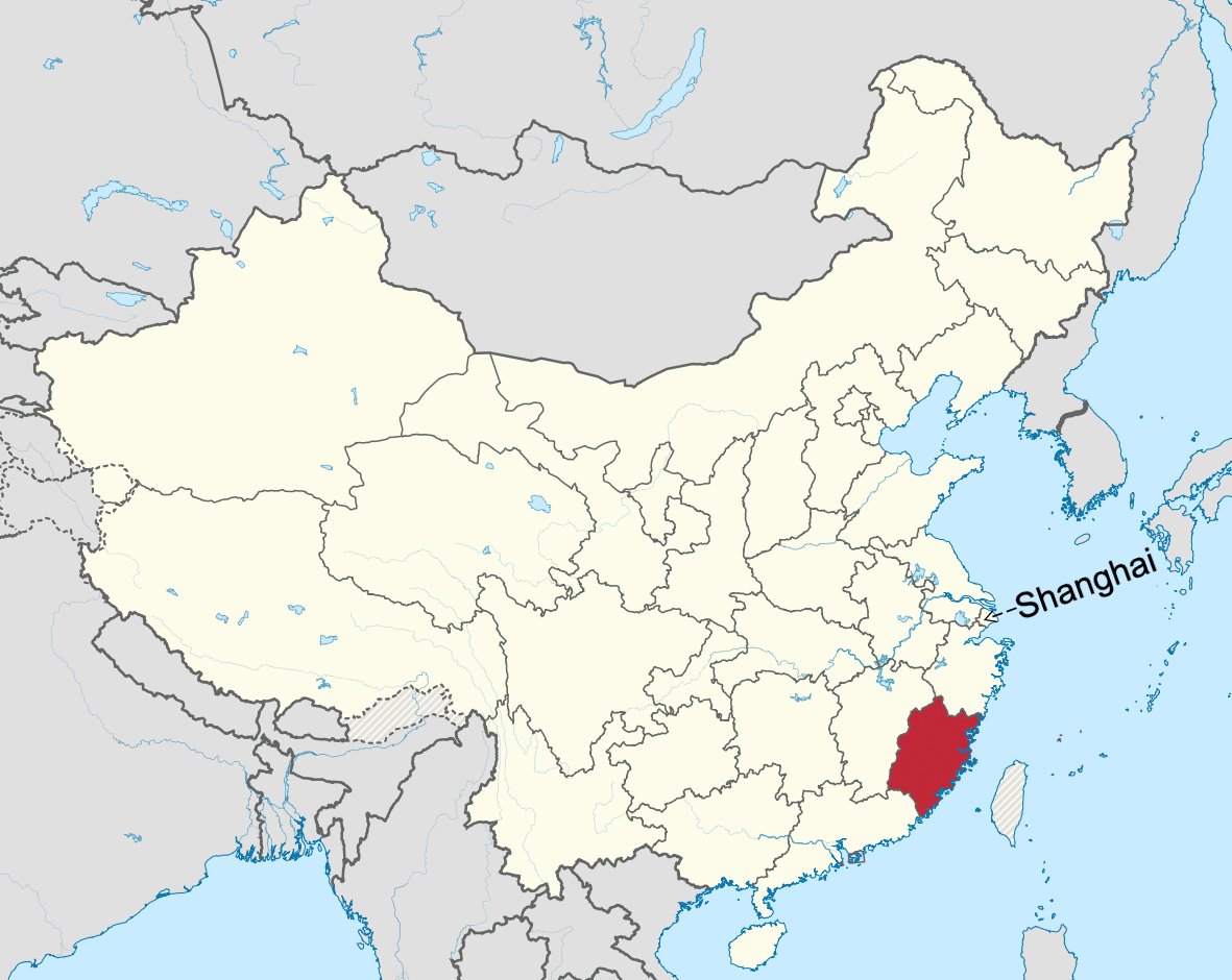 Fujian (red) is a province in southeast China.