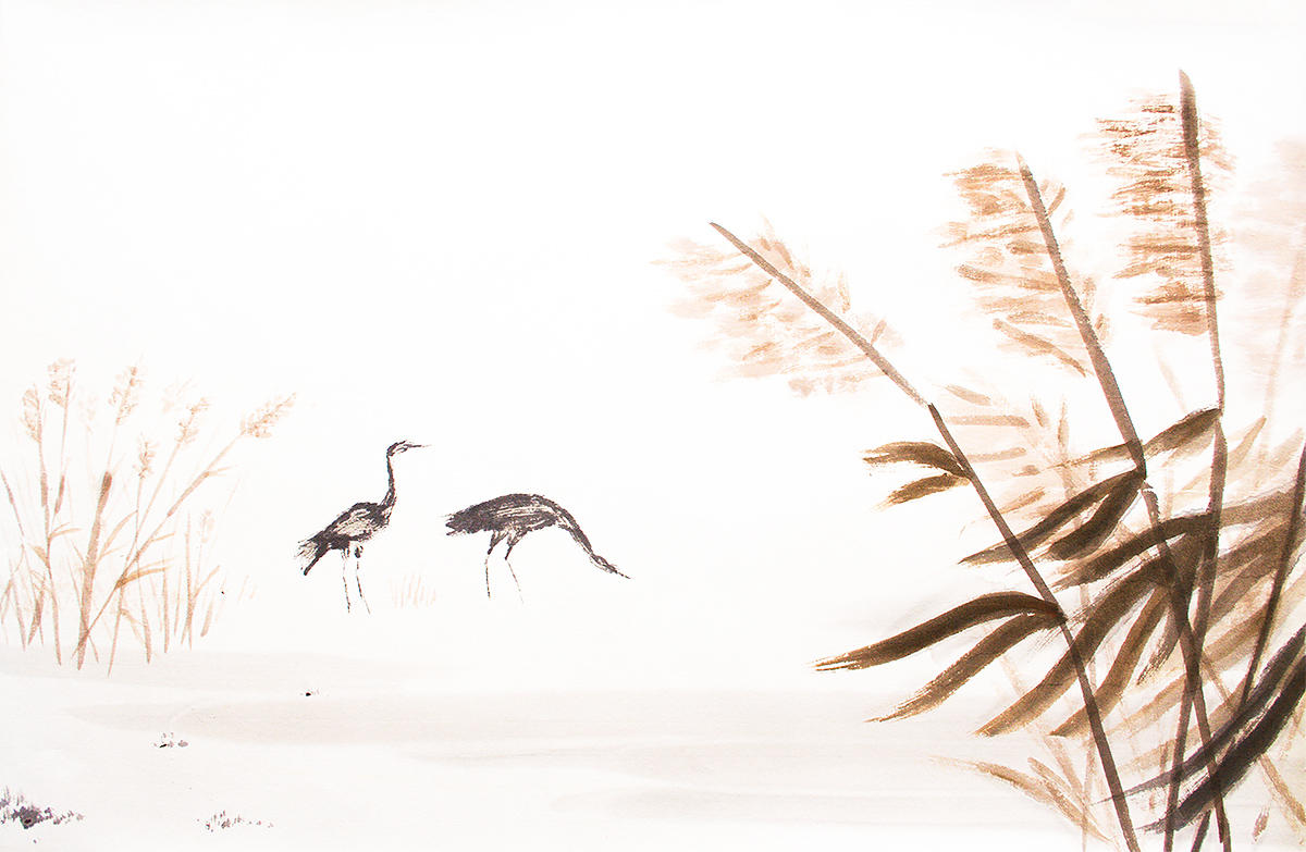 Cranes, Cape Nanhui. (Louis-Jean Germain)