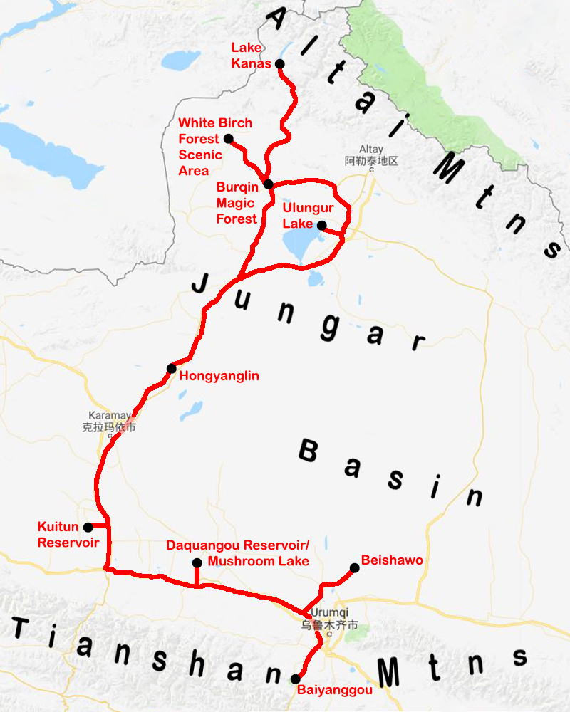 Northern Xinjiang, with red line tracing route taken by Jan-Erik Nilsén and Craig Brelsford. (Google/Craig Brelsford)