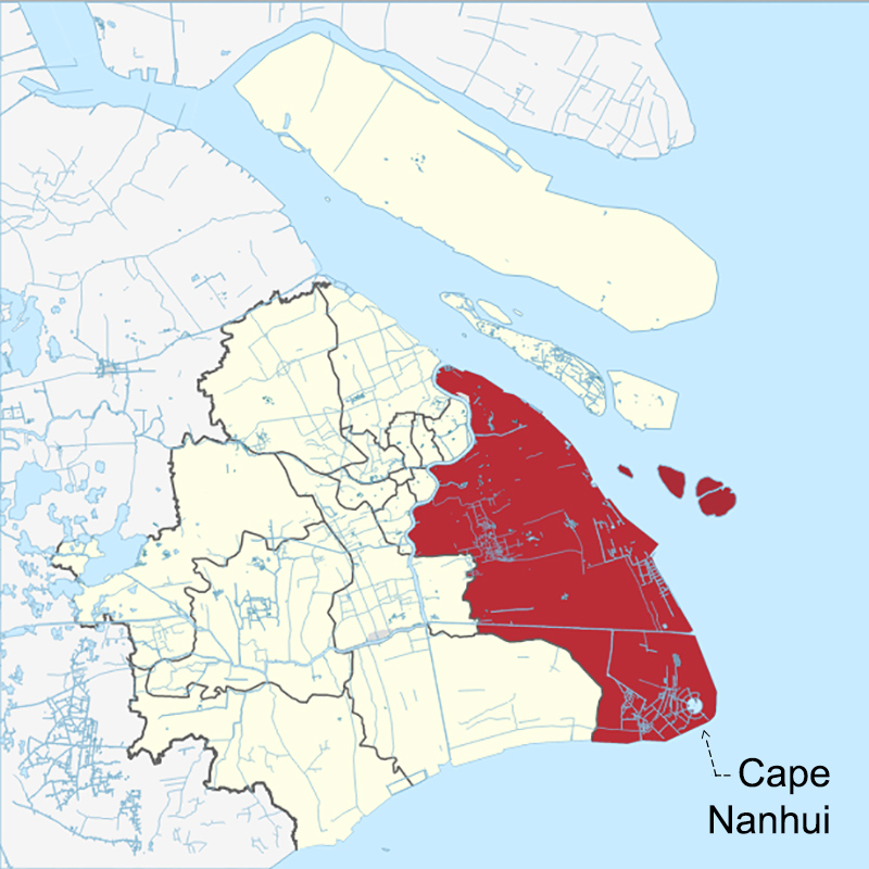 'Cape Nanhui' is the southeastern-most point of Pudong (red) and the city-province of Shanghai. Map courtesy Wikipedia. By Mikey641 - File:China Shanghai location map.svg, CC BY-SA 3.0, https://commons.wikimedia.org/w/index.php?curid=50893597